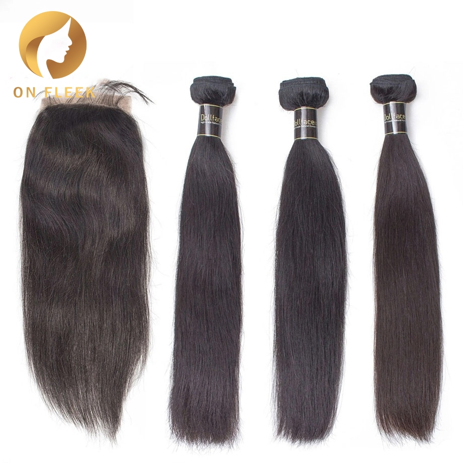 Human Hair Bundles With Closure Straight Wave Brazilian Remy Hair Weave Bundles Extension With Closure Free Shipping On Fleek