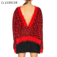 2019 New Sexy Backless Sweater Women Pullover Autumn Winter Casual Leopard Knitted Sweater Femme Tricot Pullover Jumpers
