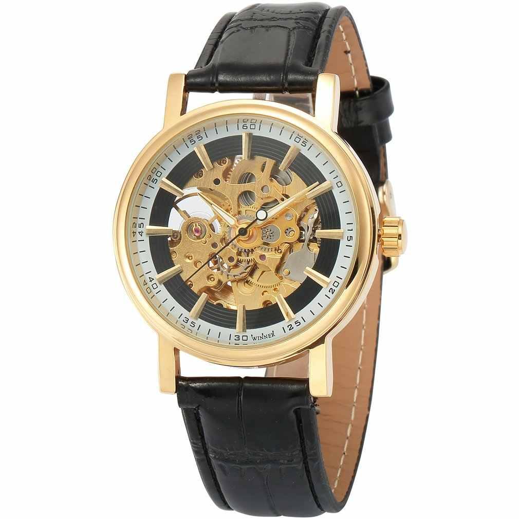 골드 쉘 중공 흰색 내부 그림자 블랙 표면 블랙 벨트 기계식 시계 패션 시계 손목 시계