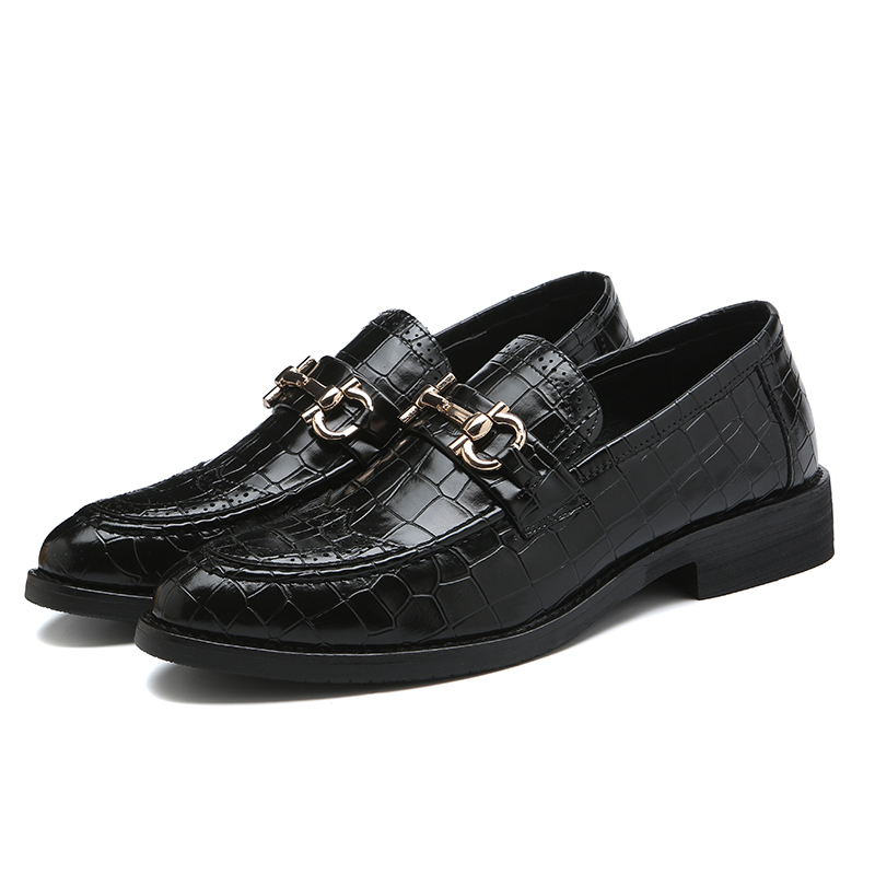Casual Comfort Pointed Toe Penny Loafer For Men Metal Buckle Crocodile Grain Men's Loafer Wedding Dress Shoes Size 6~10
