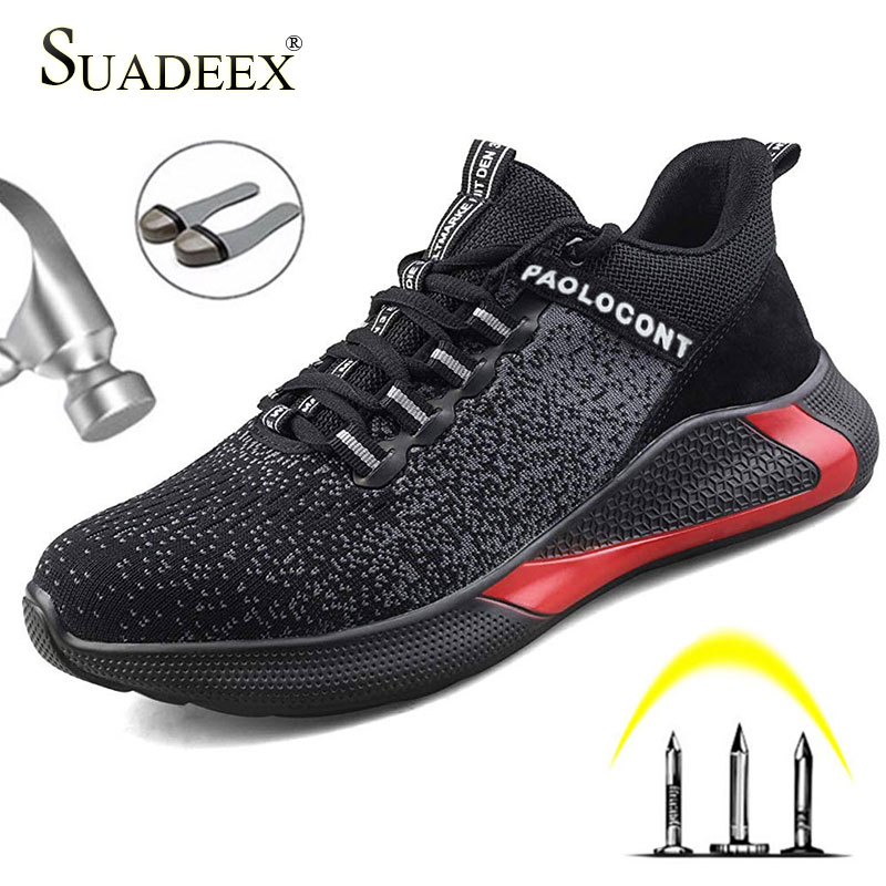 SUADEEX New Men Safety Work Shoes Boots Male Breathable Construction Work Shoes Steel Toe Indestructible Safety Work Boots