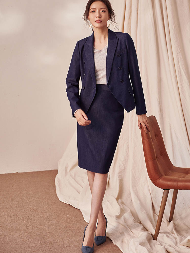 Commuter Denim Blue Suit Women's 2020 New Business Suit Coat Skirt Ol Two-Piece Set