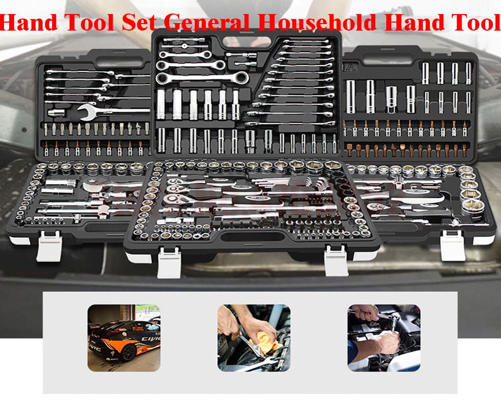 Hand Tool Set General Household Hand Tool Kit With Plastic Toolbox Storage Case Socket Wrench Screwdriver For Auto Repair Tools