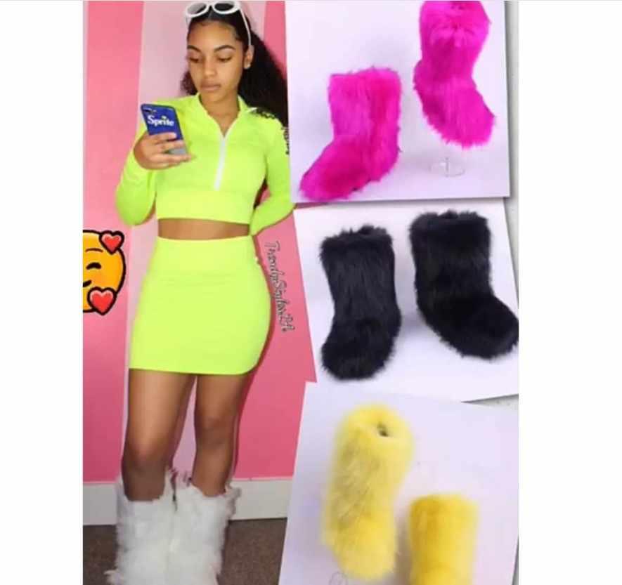 SWONCO נעלית סרוג אישה 2019 פו שועל פרווה שלג מגפי נשים נעליים חמות נשי קרסול מגפי נשים פלטפורמת Botas Mujer לבן /שחור נעל