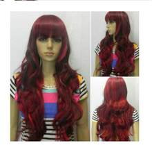shunshun668 N2404 Excellent Red + Black Multi-Color Long Wavy Cosplay women Wig 10.21(China)