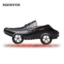 цена на RGKWXYER New Genuine Leather Men Casual Shoes High Quality Leather Flats Soft Lazy Shoes Breathable Slip-on Driving Shoes Male