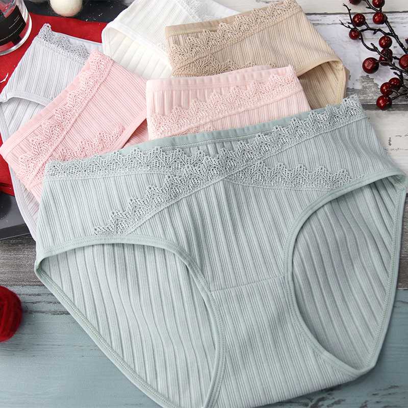 Underwear Women's Intimates Cotton Spandex Lady's Briefs Low Rise Briefs Women's Bikini Lace Panties Striped Bikini Shorts Pants