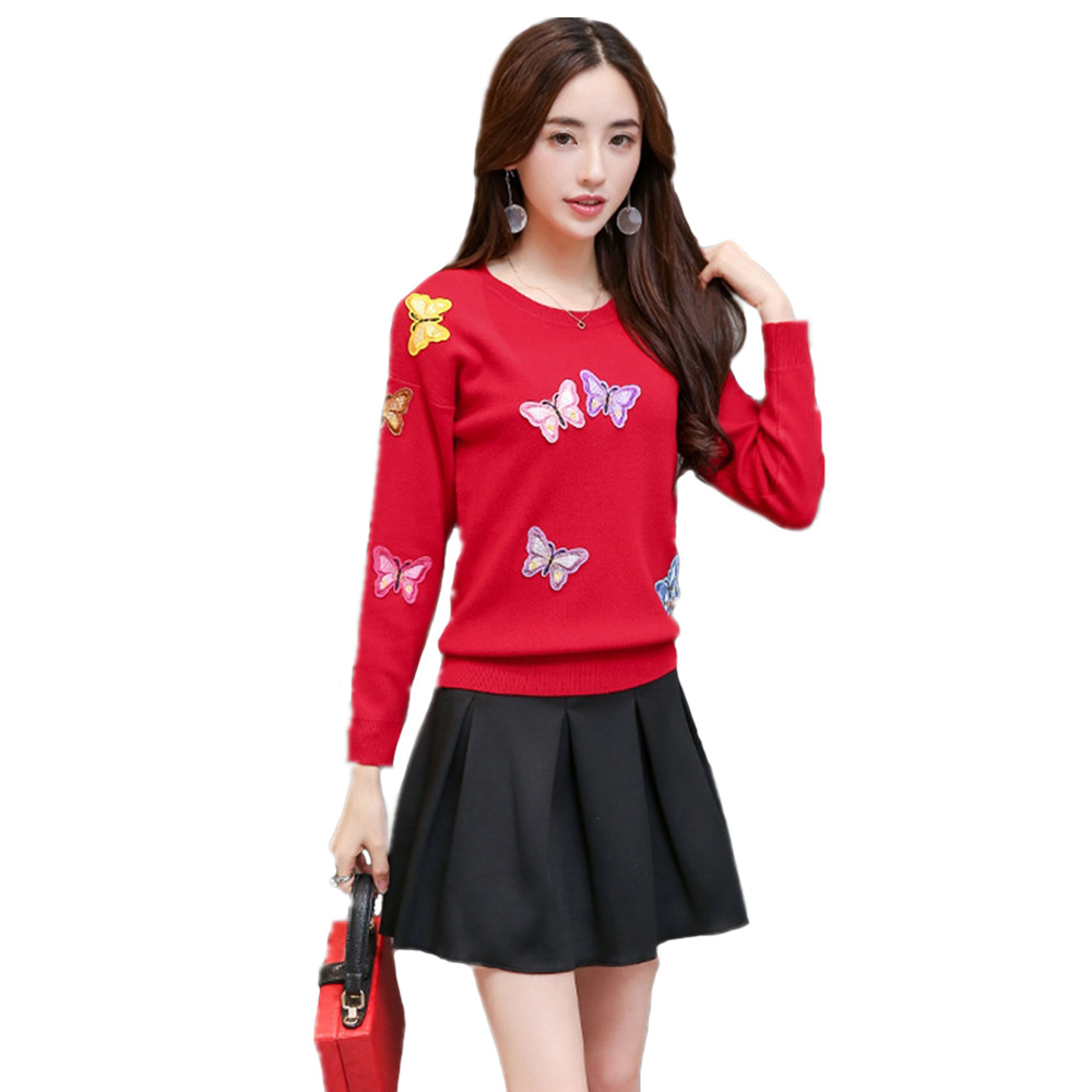 Original European Sweater Butterfly Embroidered Fall Winer Women New Applique Luxury Knitting Sweater Warm Casual Pullover Tops