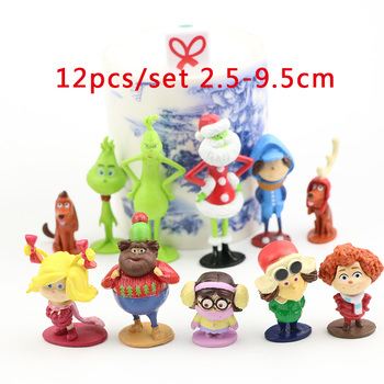 12pcs/set Grinch Cartoon Movie Action Figure Doll Toy Grinch Max Dog Anime Figure PVC Model Grinch Stole Christmas Gift for Kids lis steampunk batman play arts kai action figure pvc toys 270mm anime movie model steampunk bat man playarts kai christmas gift