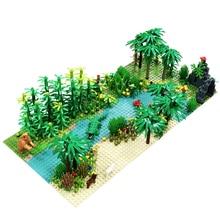 متوافق مع جميع العلامات التجارية الغابات المطيرة الحيوان العشب شجرة اللبنات مجموعة مع baseboard مدينة MOC اكسسوارات أجزاء لتقوم بها بنفسك الطوب