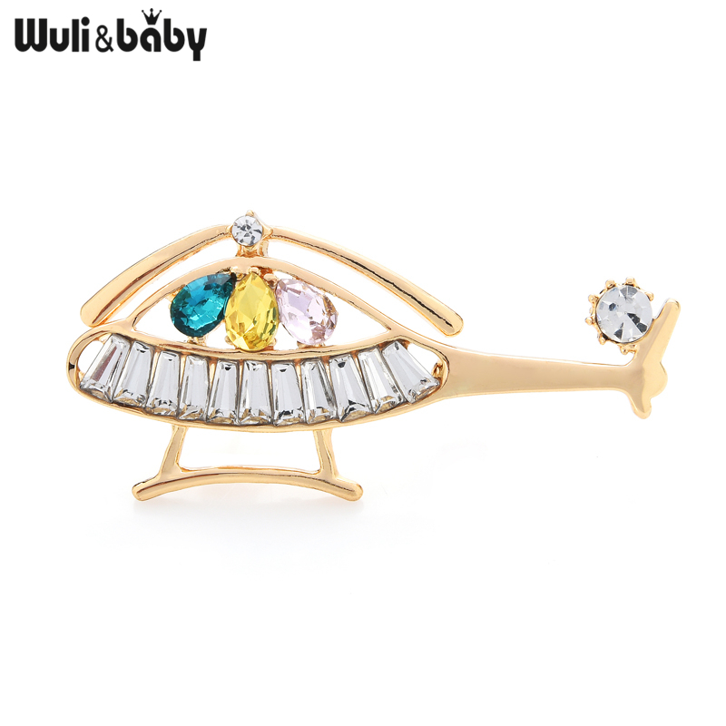 Wuli&baby Rhinestone Helicopter Brooches Unisex Airplane Design Party Casual Brooch Pins Gifts
