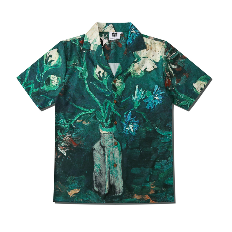 2020Japanese Harajuku Couples Wear Japanese Korean Fashion Shark Print Lapel Shirt Summer Men's And Women's Tops