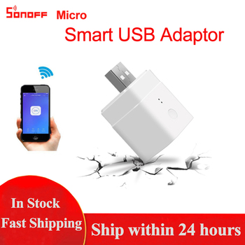цена на SONOFF Micro Wireless USB Smart Adaptor 5V Wifi Mini Micro USB Charge Adaptor Smart Remote Control Works With Alexa Google Home