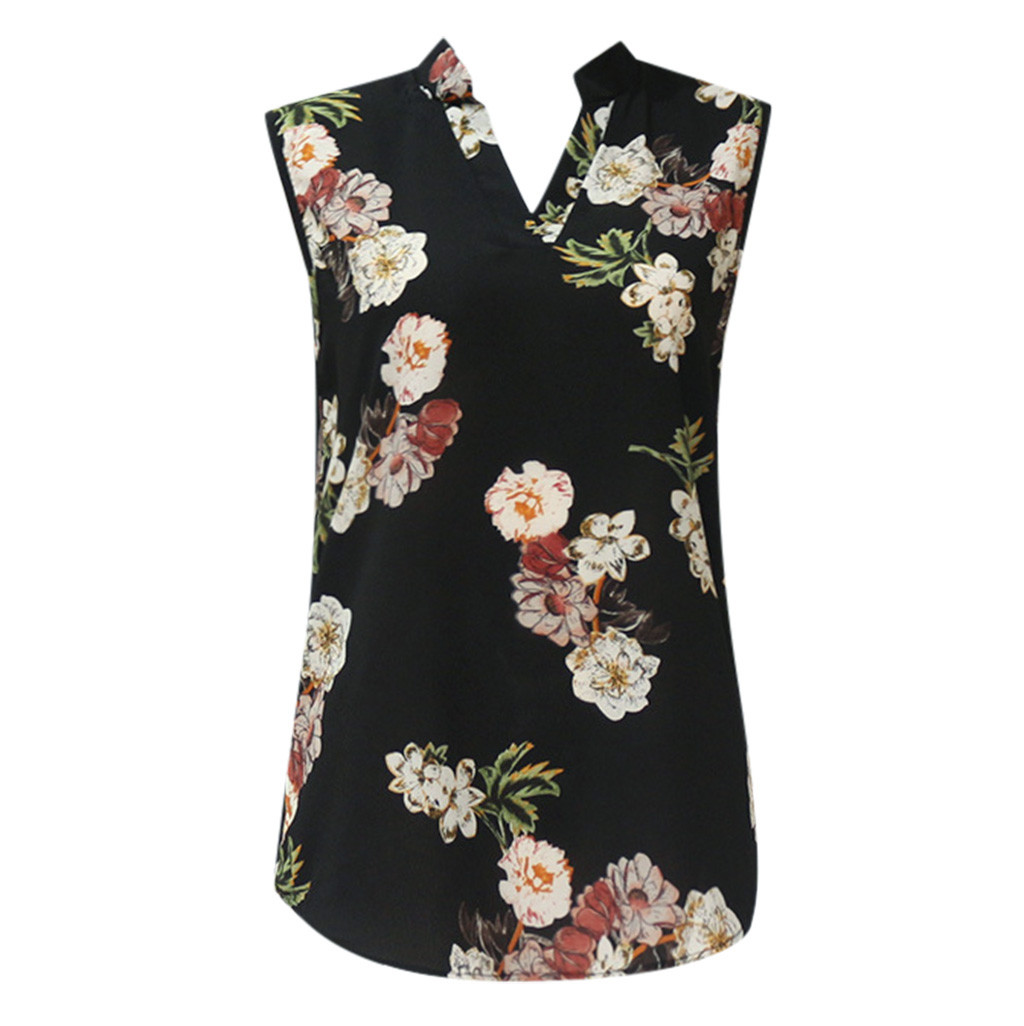 Women Shirts Blouse Women Plus Size Chiffon Blouse Flower/Strip Printed Sleeveless Flower Print Loose Summer New Full ShirtZ1224