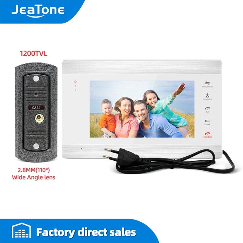 Jeatone 1200tvl sistema de telefone video da porta para casa grande angular campainha 7 Polegada monitor com cartão de memória, detecção de movimento apoio