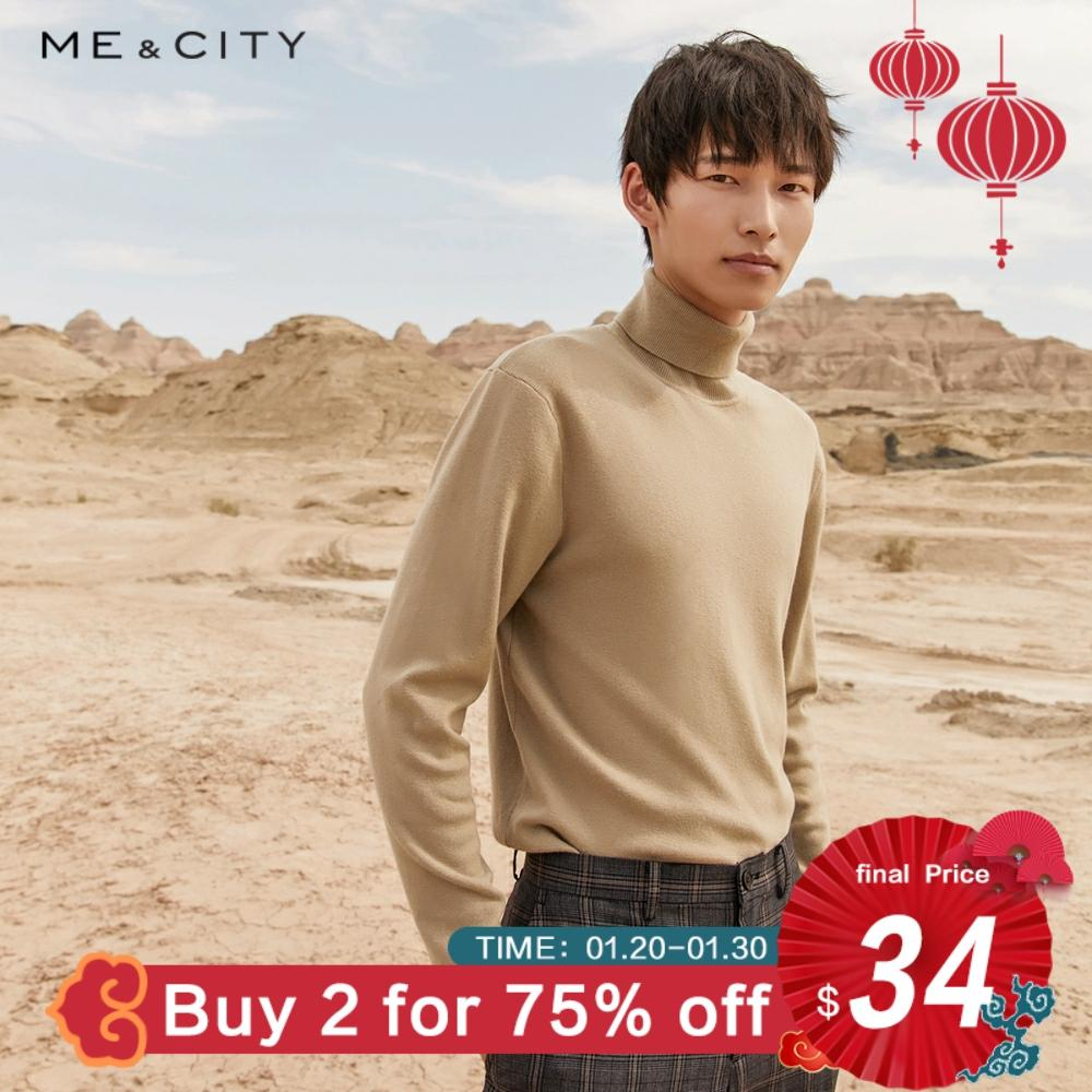 Me&city Sweater Men 2019 Autumn Winter Fashion Basic Knitted Wool Solid Colour Men Cotton Sweater High Quality Clothes