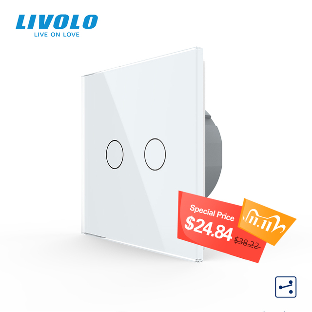 Livolo EU Standard Touch Switch, 2Gang 2Way Control, 7colors Crystal Glass Panel,Wall Light Switch,220 250V,C702S 1/2/3/5