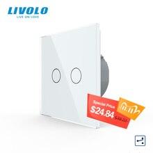 Livolo padrão da ue interruptor de toque, 2gang 2way controle, 7 cores painel de vidro cristal, interruptor de luz de parede, 220 250v, C702S 1/2/3/5