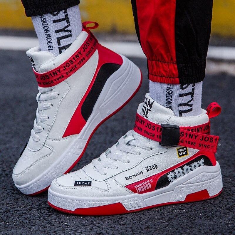 Осенняя трендовая мужская спортивная обувь с высоким берцем, модная мужская Вулканизированная обувь, белые мужские кроссовки из искусственной кожи, нескользящая мужская обувь на плоской подошве|Кроссовки и кеды|   - AliExpress
