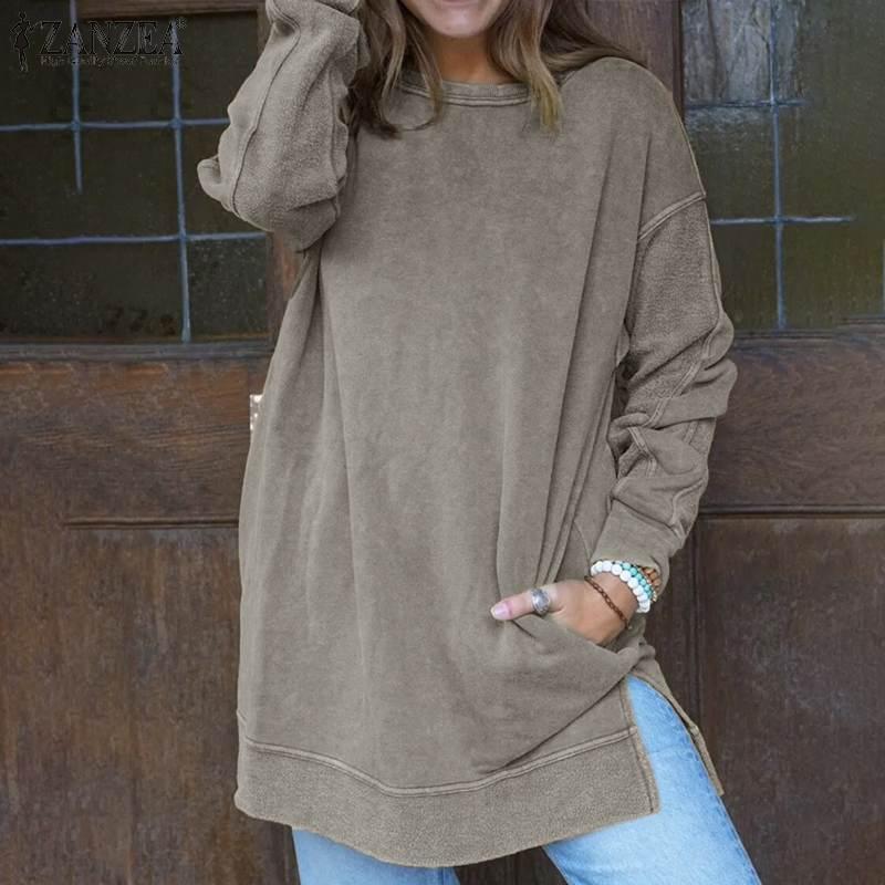 Spring Women's Sweatshirts 2021 ZANZEA Fashion Female Pockets Pullovers Warm Pockets Casual Long Sleeve O-neck Streetwears S-5XL
