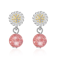 Elegant Daisy Flower Pink Strawberry Quartz 925 Sterling Silver Lady Stud Earrings Jewelry Wholesale Gift Women ruifan pink natural stone strawberry quartz women s earrings real 925 sterling silver stud earrings for women jewelry yea237