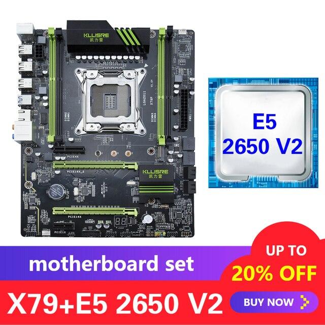 Kllisre X79 motherboard set with Xeon E5 2650 V2 LGA 2011 support DDR3 ECC REG memory ATX USB3.0 SATA3 PCI E NVME M.2 SSD