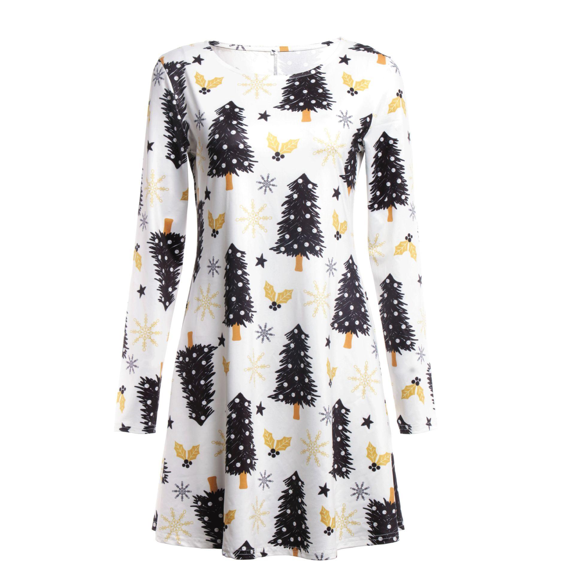 Print Long Sleeve Autumn Winter Christmas Dress Women 19 Casual Loose Short Party Dress Plus Size S-5XL Vestidos 3