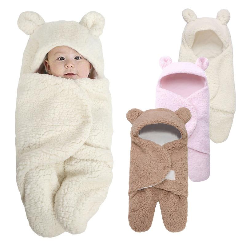 Cute Soft Baby Blankets Newborn Baby Boys Girls Warm Wrap Swaddle Sleepsacks Baby Sleeping Wrap Blanket Photography Prop