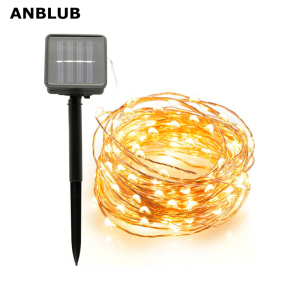 ANBLUB Outdoor 10M 20M Solar Lamp LED String Fairy Lights Flash 100/200leds Waterproof For Christmas Garden Wedding Decoration(China)