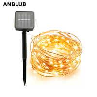 ANBLUB al aire libre 10M 20M lámpara Solar LED guirnaldas de luces Flash 100/200leds a prueba de agua para decoración de Navidad jardín boda