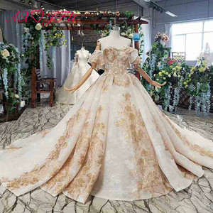 Image 1 - Axjfu 高級王女ビーズクリスタル黄金の花のレースのウェディングドレスヴィンテージボートネック花嫁フリルローズのウェディングドレス 2408