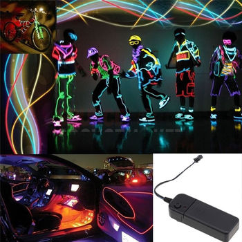 1 Set LED Flexible Neon EL Wire Glow Light Strip Car Stage Home Party Dance + Mobile Output Connector Charger Use Battery image