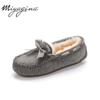 MIYAGINA 100% Natural Fur Genuine Leather Women Flat Shoes New Fashion Women Moccasins Casual Loafers Plus Size Winter shoes