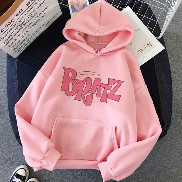 Women Casual Hooded Sweatshirt Bratz letter sweatshirt Harajuku Kawaii cute hoodie Long Sleeve Sweatshirt Autumn streetwear худи 2