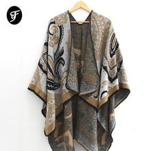 Womens Fashionable Retro Style Vintage Pattern Poncho Shawl Cape Winter Open Front Scarves Female Pashmina Ruana