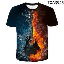 2021New Tee Summer Guitar 3D Print Tshirt Boy Girl O-Neck Funny Casual T-Shirt Women/Men Rock Streetwear Tee Tee Cute Cool Tee