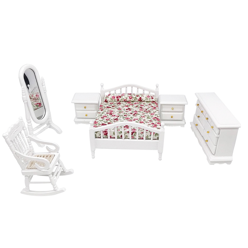 1:12 Dollhouse Miniature Furniture White Fashion Bedroom Set 6PCS <font><b>Bed</b></font> Chair Cabinet Dresser Mirror WB063 image
