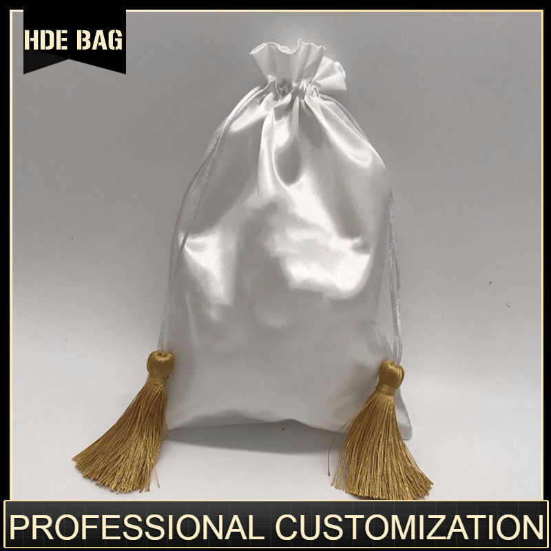 Luxury Satin Hair Bag Custom Logo Drawstring Pouch Hair Wigs Extension Bags For Bundles 15x20/18x30/30x40cm Makeup Jewelry Pouch
