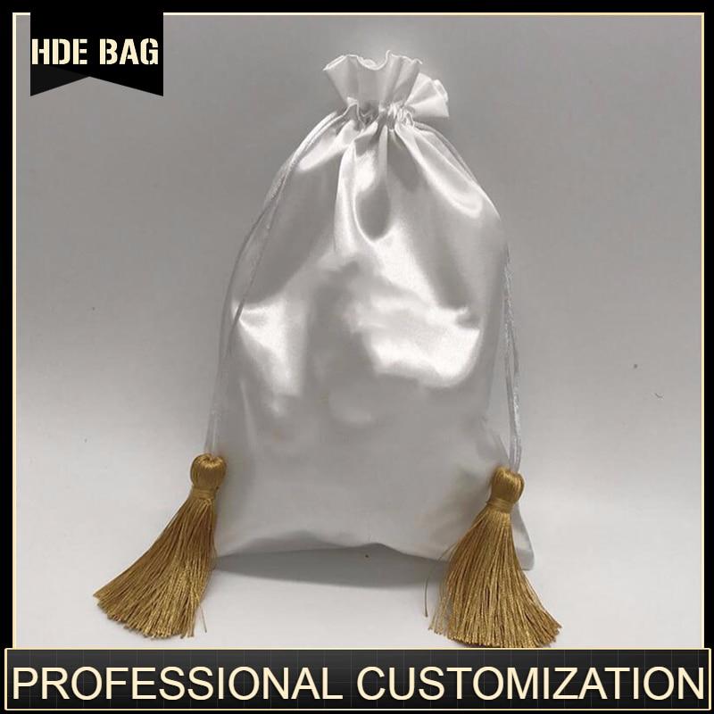 Luxury Satin Hair Bag Custom Logo Drawstring Pouch Hair Wigs Extension Bags For Bundles 15x20/18x30/30x40cm Makeup Jewelry Pouch