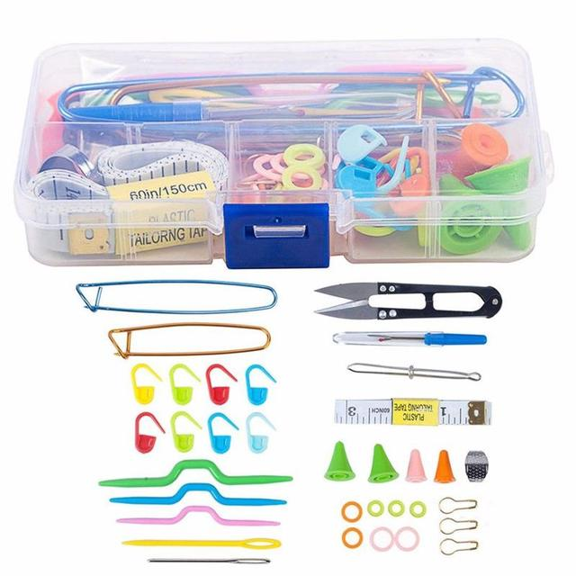 56 pcs Crochet Hooks Set With Case Knitting Needles Set DIY Needle Arts Craft Scissors Stitch Markers Sewing Tools Accessories