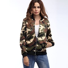 цена на Women's Camouflage Print Blouse Fashion Baseball Coat Zipper V-neckline Jacket Outwear Female Autumn Spring Jacket Ladies Y829