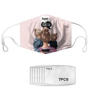 Защитная маска из хлопка с принтом «супер мама» PM2.5 маска для рта Пылезащитная маска для лица с фильтром «Харадзюку мама» 7 шт./компл.