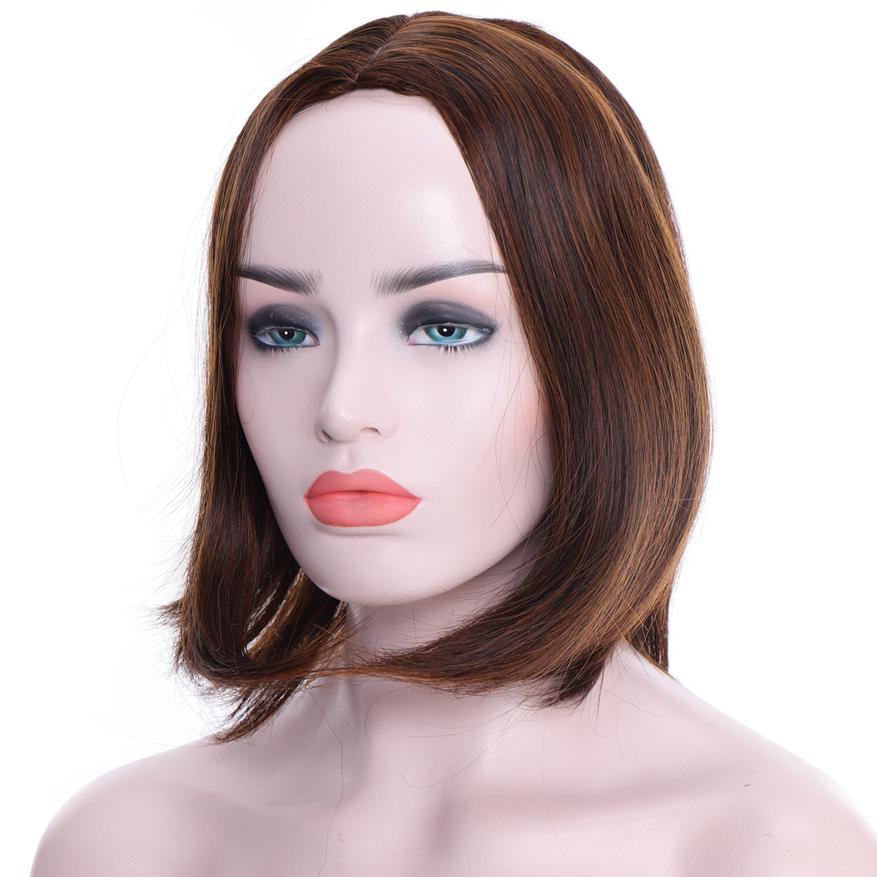 LUPU 8 Inch Synthetic Straight Short Bob Wigs With Bangs Brown Cosplay Wig High Temperture Fiber Female Hair