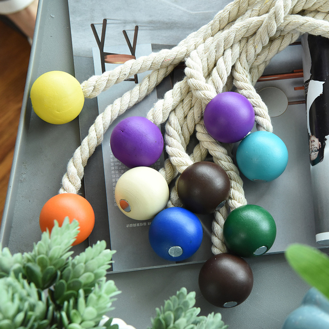 Magnetic Wooden Bead Ball Curtain Tiebacks 5
