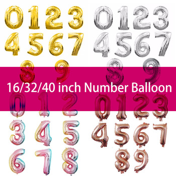 16/32/40 inch Large Rainbow Color Number Foil Balloons 0-9 year birthday party decorations kids Helium Balloon Baby Shower Party image
