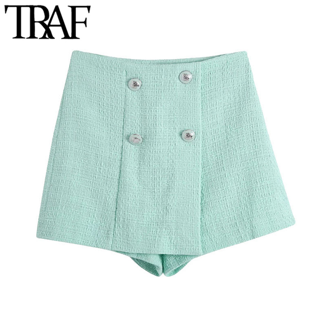 TRAF Women Chic Fashion With Buttons Tweed Shorts Skirts Vintage High Waist Side Zipper Female Skorts Mujer 1