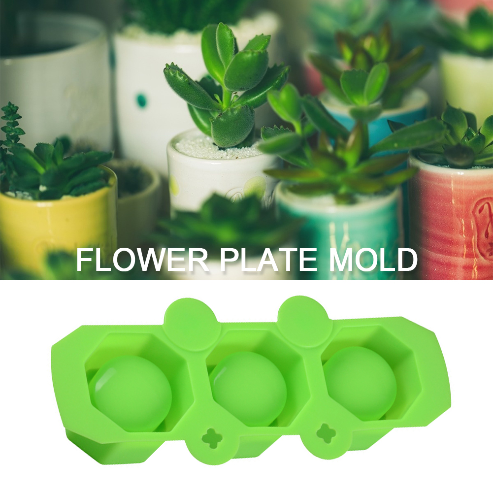 3 Holes Polygonal Concrete <font><b>Flower</b></font> Pot <font><b>Vase</b></font> <font><b>Mold</b></font> Cactus Cement DIY Clay Mould Silicone Home Garden Office Decoration image