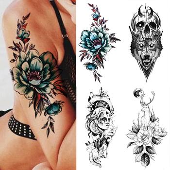 Wodoodporna tymczasowa naklejka tatuaż niebieska róża jednorożec Flash tatuaże kwiaty róża księżyc Deer tatuaże do ciała ramię fałszywy rękaw tatuaż kobiet tanie i dobre opinie MANZILIN 21X11 5cm XQB148 Zmywalny tatuaż