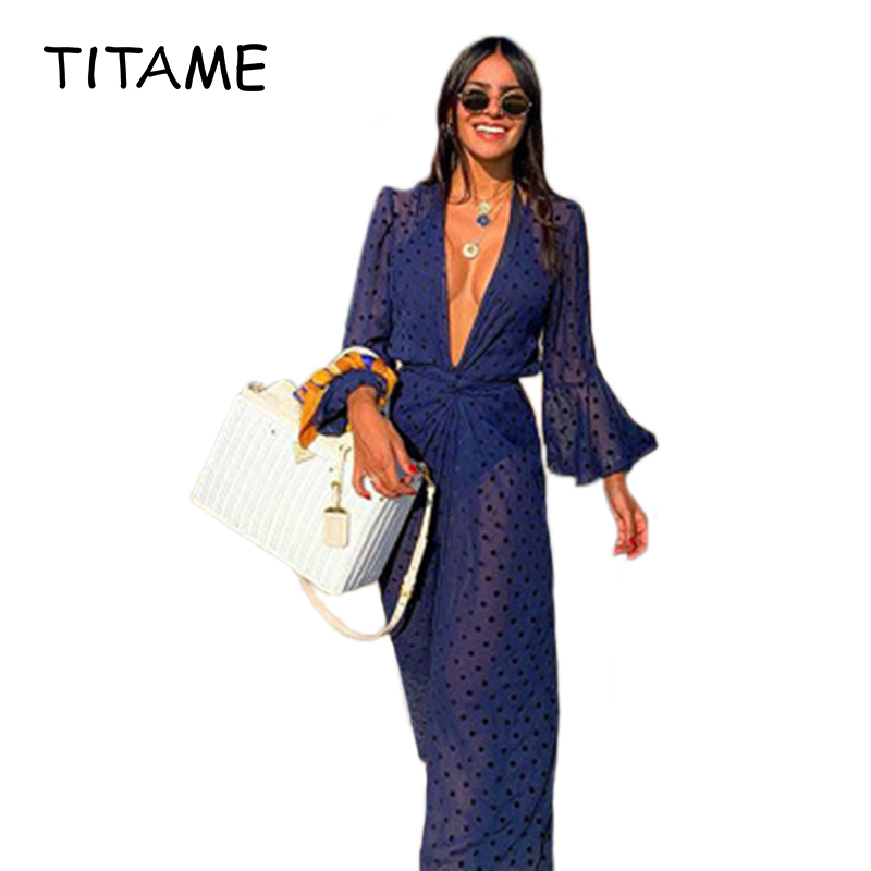 TITAME Fashion Womens Long Cover Up Sheer Bikini Coverups Trumpet Sleeve Front Bathing Sexy Suit Swimsuit Beachwear Cardigan