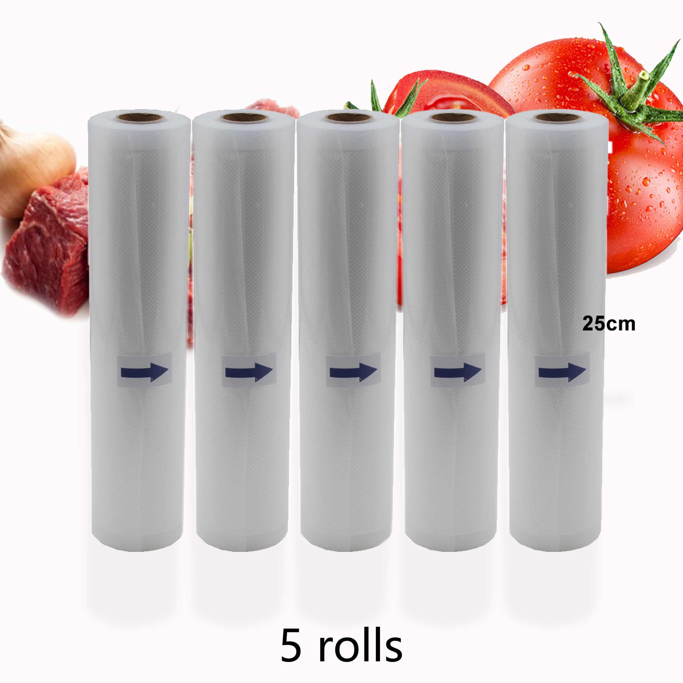 BPA ücretsiz 5 Rolls/Lot mutfak vakumlu gıda torbası saklama torbaları vakumlama makinesi vakum paketleme rulo 12/15/20 /25/28cm * 500cm